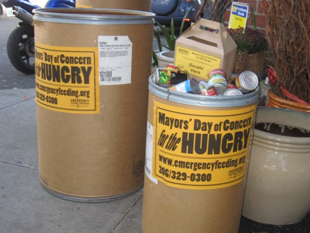 Donation Cans Are Getting Filled for the food drive