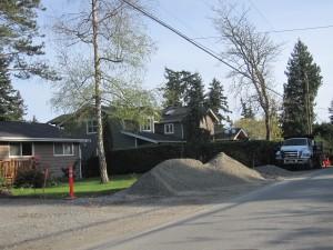 Sidewalk construction on 116th Ave NE in Kirkland, WA