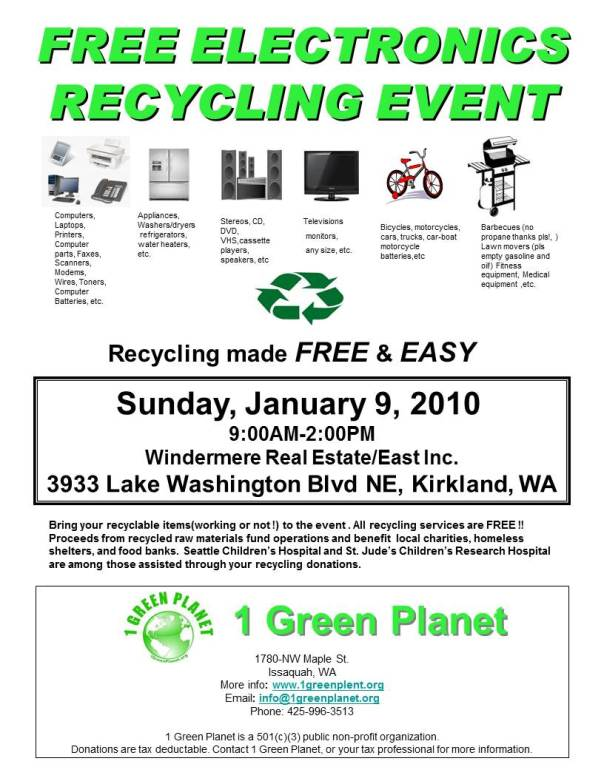 Recycling electronics in Kirkland