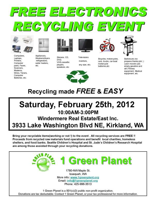 Opportunity for Free Recycling in Kirkland
